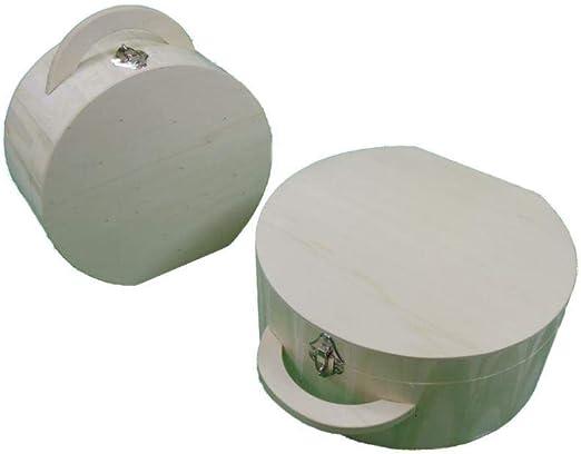 Greca Caja Circular Vintage con asa y Cierre pequeña. En Madera de ...