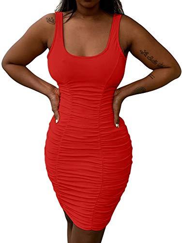 BEAGIMEG Women's Sexy Ruched Sleeveless Bodycon Tank Mini Clubwear Dress Red