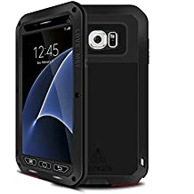 Galaxy S7 Case,Mangix Love Mei [Newest] Gorilla Glass Luxury Aluminum Alloy Protective Metal Water Resistant Shockproof Military Bumper Heavy Duty Cover Shell Case for Samsung Galaxy S7 (Black)