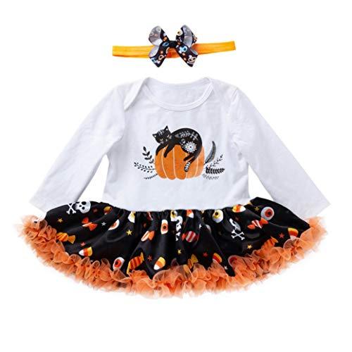 Lovable Newborn Infant Baby Girls Dress Romper Halloween Outfits Pumpkin print Jumpsuit Dresses (age:3-6month, White) ()