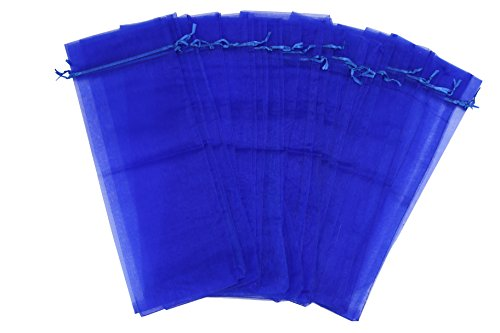 Wuligirl 10pcs Blue Organza Wine Bags for Wedding Christmas Champagne Bottles Party Baby Shower Prizes Favors Drawstring Pouches Reusable Simple Bottle Wrap,5.5 by 14.5 Inch (Blue)
