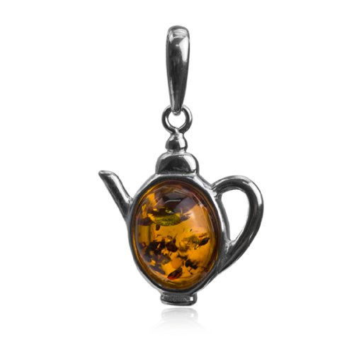 Sterling Silver Amber Kettle Oval Pendant