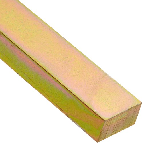 Steel Key Stock, Gold Dichromate Finish, Standard Tolerance, Metric, 6 mm Thickness, 10 mm Width, 12