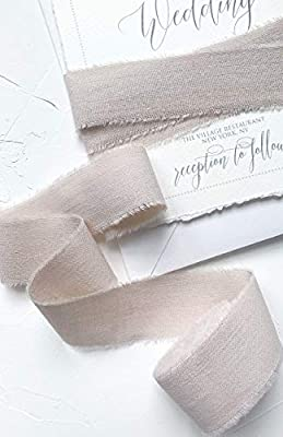 """Sand 1"""" wide, 5yd satin ribbon, Nude cotton frayed edges hand dyed, for Rustic wedding invitation ties, favors gift wrapping Party decor bows, Florist Bouquet supplies, Flat lay styling props"""