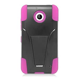 Pink Black Stand Dual Layer Hard Soft Cover Case for Nokia Lumia 635