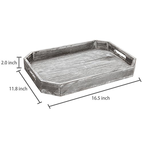 MyGift Country Rustic Wood Serving Tray with Cutout Handles and Angled Edges by MyGift (Image #5)