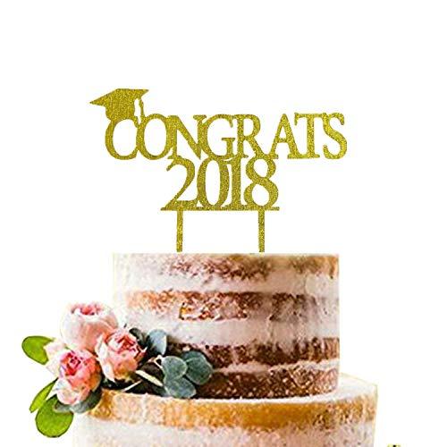 Gold Congrats 2018 Cake Topper | Acrylic Graduation Cake Toppers 2018 | Graduation Cake Decorations | Grad Party Decorations | Graduation Party Supplies