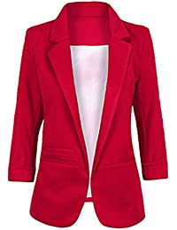 4e244e0b5a9 Women s Fashion Casual Rolled Up 3 4 Sleeve Slim Office Blazer Jacket Suits