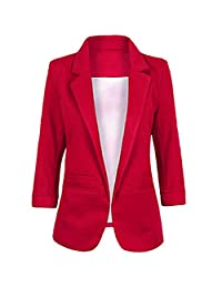 SEBOWEL Women's Fashion Cotton Rolled Up 3/4 Sleeve Office Blazer Jacket Suits