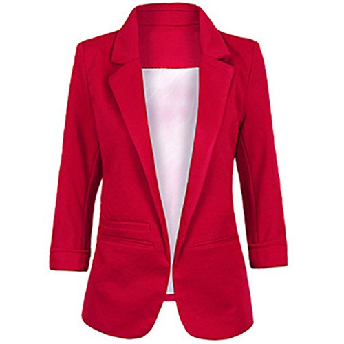 SEBOWEL Women's Fashion Cotton Rolled up 3/4 Sleeve Slim Office Blazer Jacket Suits Wine Red M