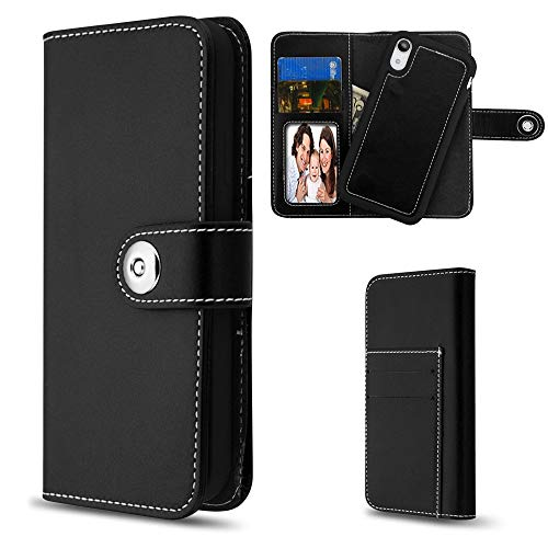 MYBAT MyJacket Purse Case Fits Apple iPhone XR/9 Detachable Magnetic 2-in-1 Wallet Clutch Removable Snap on Back Cover Leather Folio Flip Black