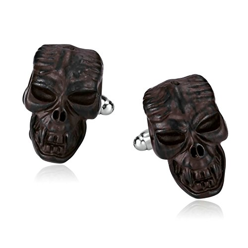 Daesar Jewelry Men's Punk Gothic Skull Head Skeleton Stainless Steel Cuff Links Dark Brown