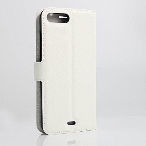 Funda iPhone 7 Plus Cuero PU Silicona Flip Wallet Premium Híbrido Protector Colores Del Caramelo Caso Carcasa para Teléfono Apple iPhone 7 Plus Case 5.5 Pulgada blanco