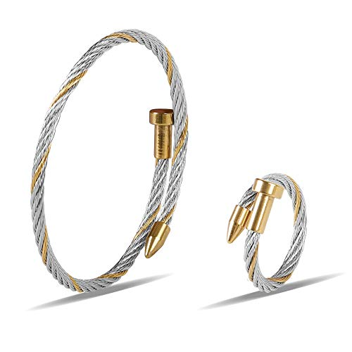 - Zean Designer 14K Gold Plated Nail Bracelet and Ring for Womens Inspired Antique Jewelry Cross Cable Wire Bangle