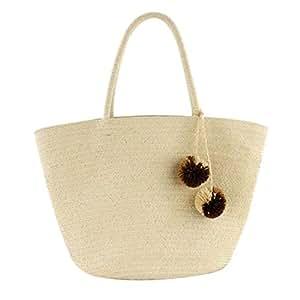 chinatera Summer Beach Bag, Straw Bag Top Handle Shoulder Bag Women Tote with Top Handles