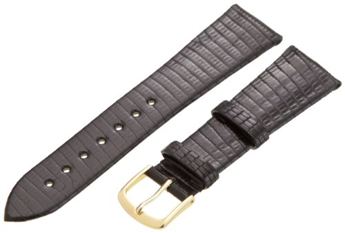 Genuine Leather Short (Hadley-Roma Men's MSM700SA-200 20-mm Short Black Genuine Lizard Leather Watch Strap)