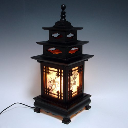 Carved Wood Lamp Shade with Three Story Pagoda Design Handmade Art Deco Lantern Brown Asian Oriental Bedside Bedroom Accent Unusual Table Light ()
