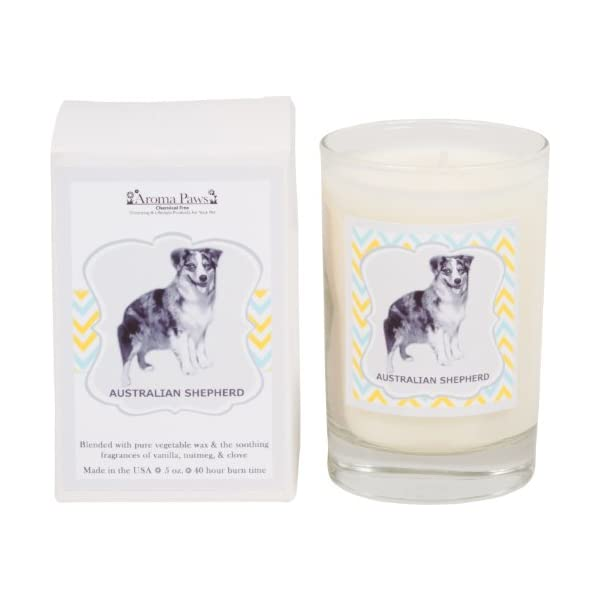 Aroma Paws Aromatic Dog Candle with Gift Box – for Canine Pet Odors, Vanilla Nutmeg Clove Scent – Cotton Wick Handcrafted – Soy Wax – Reusable, Recyclable Jar – 5 Oz. 1