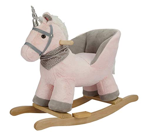 ROCK MY BABY Baby Rocking Horse with Chair,Unicorn Rocker,Pink Unicorn Pony Rocking Chair,Rocking Animals,Wooden Rocking Horse/Baby Animal Rocker,Animal Ride on for Girls(Pink Unicorn for 12M+)