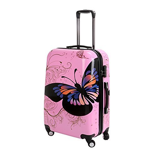 24-Pink-Butterfly-Upright-Spinner-Travel-Luggage-Suitcase-4-Wheel-Cabin-Trolley-Set-by-WindMax
