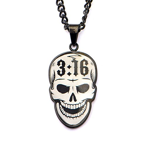 WWE Jewelry Stone Cold Stainless Steel Black-Plated Men's Pendant Necklace, 24'' by WWE Jewelry