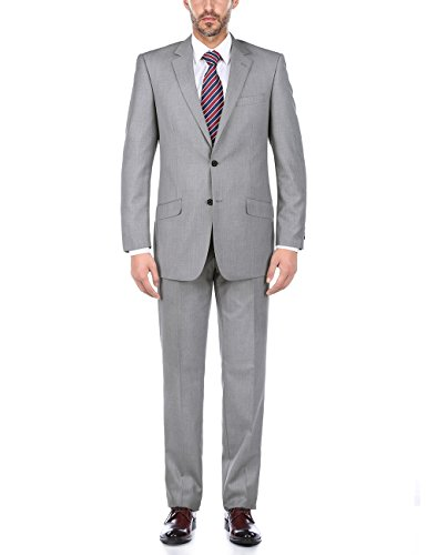 Wool 2 Button Single (Chama Men's 100% Wool Single Breasted Two Button Notch Lapel Slim Fit Suit (Light Grey, 44 Regular/38 Waist))