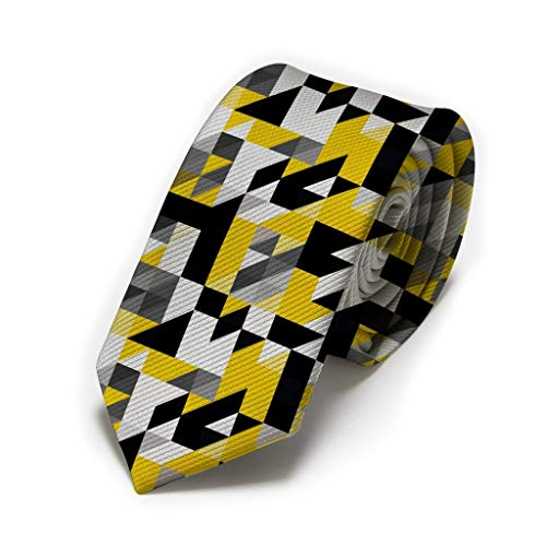 Triangle Nc Halloween Events (Men's Tie Black White Yellow Triangle geometric shapes Fashion Necktie Wedding Party Meeting)