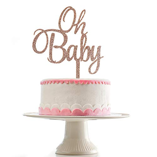 Rose Gold Glittery Oh Baby Cake Topper for Baby Shower Party Decorations,Gender Reveal Party,1st Birthday Party Decorations