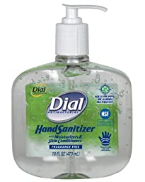 Dial 1715570 Fragrance Free Antibacterial Instant Hand Sanitizer Gel with Moisturizer and Pump, 16oz Bottle (Pack of 8)