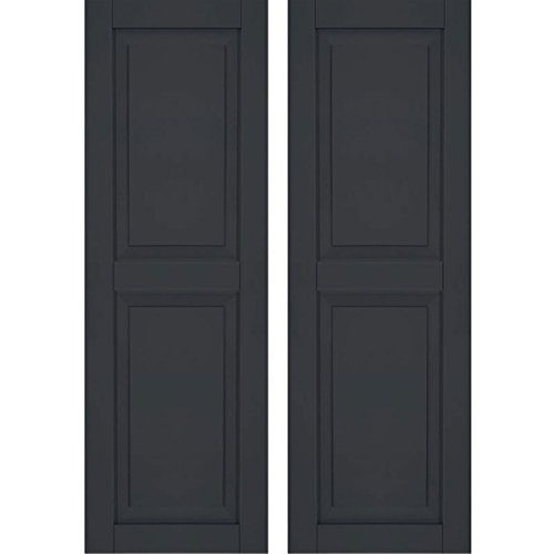 Ekena Millwork CWR15X068BLC Exterior Composite Wood Raised Panel Shutters with Installation Brackets (Per Pair), Black, 15