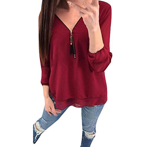 OrchidAmor Women Summer Casual Chiffon Zipper Long Sleeve Tank T-Shirt Blouse Tops RD/XL - Leather Moments Teddy Elegant