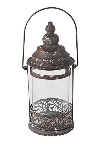 Rustic Large Metal and Glass Round Candle Holder Decorative Hanging Lantern (Antique Candle Lantern)