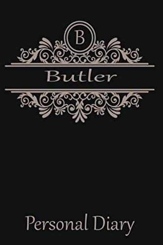 B Butler: Cute Initial Monogram Letter Blank Lined Paper Personalized Notebook For Writing & Note Taking Composition ()