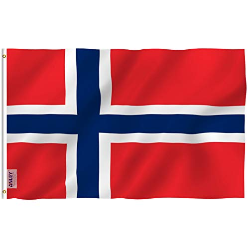 Anley [Fly Breeze 3x5 Foot Norway Flag - Vivid Color and UV Fade Resistant - Canvas Header and Double Stitched - Norwegian Nordmann National Flags Polyester with Brass Grommets 3 X 5 Ft