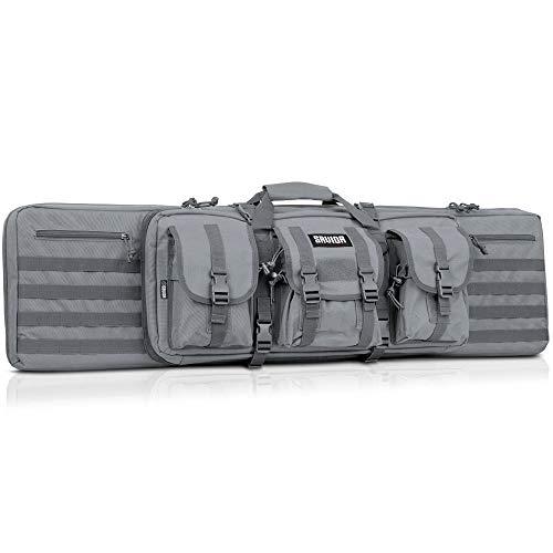 Savior Equipment American Classic Tactical Double Long Rifle Pistol Gun Bag Firearm Transportation Case w/Backpack - 55 Inch Ash Gray (Best Pistol Range Bag Reviews)
