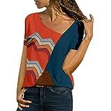 Zackate Women's Color Block Blouse Short Sleeve Casual Tee Shirts Tunic Tops Summer Sweatshirts T-Shirts
