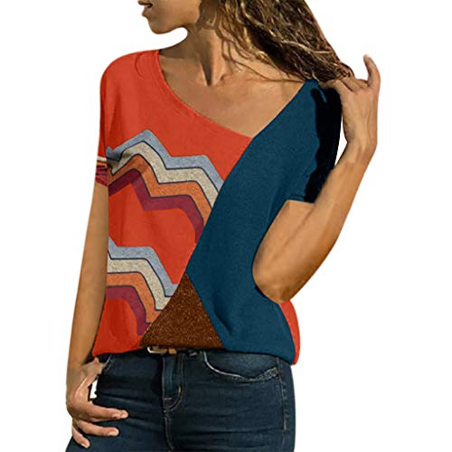 HIRIRI Women's Short Sleeve Blouse Color Block O-Neck Casual Patchwork Striped Loose Top T-Shirt Red