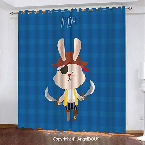 SCOCICI 2 Panels Set Personalized Printed Blackout Grommet Window Curtains Pretty Pirate Rabbit Bunny with Eye Patch and Swords Funny Graphic Cartoon for Bathroom Living Room Bedroom