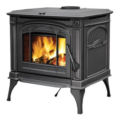 "Banff Series 1400CP 28"""" Natural Vent Wood Burning Stove with Ash Pan Concealed Hinges Refractory Lined Firebox and Heat Radiant Ceramic Glass in Metallic Black"