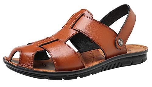 Vocni Men's Open Toe Casual Leather Comfort Shoes Sandals Mens Sandals Men Open Toe Sandals Plus Size,Yellow Brown_2,EU 47-12.5 M US
