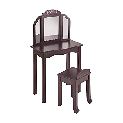Guidecraft Espresso - Dark Cherry Expressions Wooden Vanity Table and Stool Set with 3 Mirrors: Kids Room Furniture: Home & Kitchen
