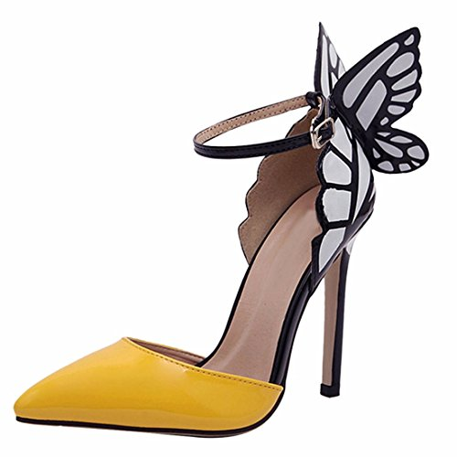 Heel Women Yellow Bowknot Elegant High Stilettos Patent Sexy Pointy Toe Leather Shoes RzwC5Ozq