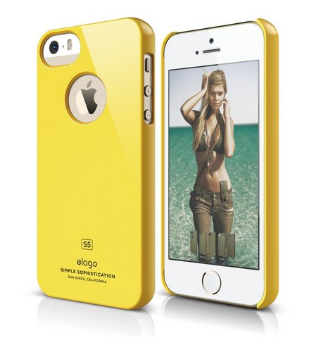 elago S5 Slim Fit Case for iPhone 5 + HD Professional Extreme Clear film included - Full Retail Packaging - Sport Yellow