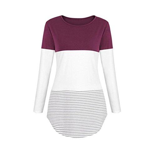 Manica Caldo Shirt Tops Casual Ladies Donna Lunga Sciolto Camicie Camicetta Top Striscia Patchwork T Rosa YUMM Pulsante Xaw1c6Cqq