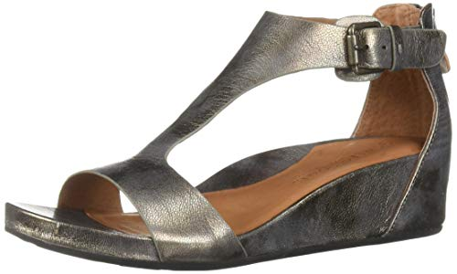 Gentle Souls Women's Gisele Low Wedge T-Strap Sandal, Pewter 7.5 M US]()