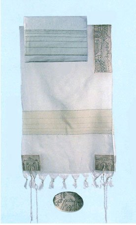 "Yair Emanuel Cotton Hand Embroidered Jerusalem in Silver Tallit Prayer Shawl Set - Size 61"" x 77"""