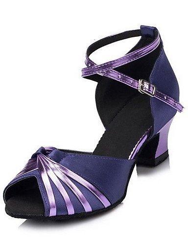 ShangYi Chaussures de danse ( Autre ) - Non Personnalisables - Talon Cubain - Satin - Latine , gold-us8.5 / eu39 / uk6.5 / cn40 , gold-us8.5 / eu39 / uk6.5 / cn40