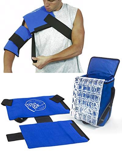 Pro Ice Pitcher's Travel Kit - Shoulder Elbow Cold Therapy Wrap to Treat Rotator Cuff with Ice and Compression, PI800 Cooler Bag, Shoulder Wrap & Ice Packs ()