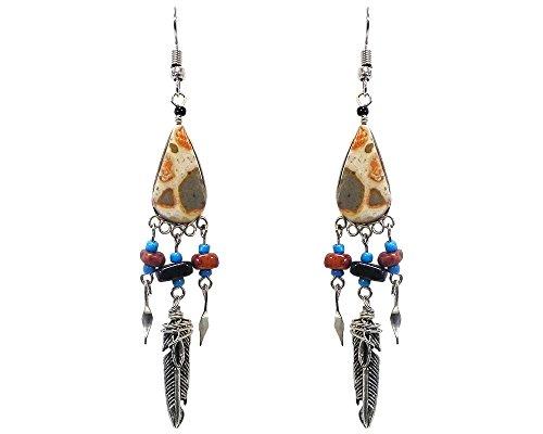 Teardrop Stone Chip Stone Silver Feather Charm Dangle Earrings (Tan Leopard Jasper) - Leopard Jasper Earrings