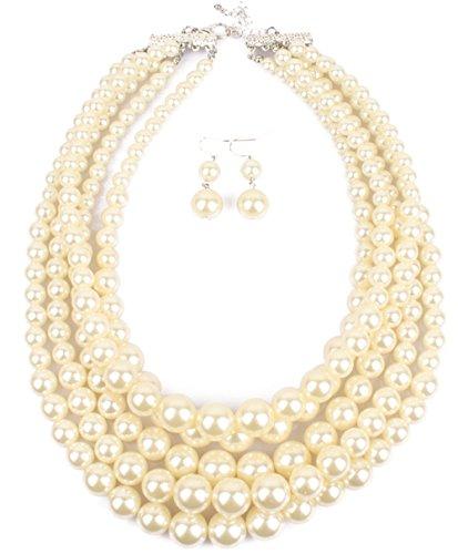 Shineland Elegant 5-laryered Multi-Strand Pearl Cluster Collar Bib Choker Necklace EarringSets (White)